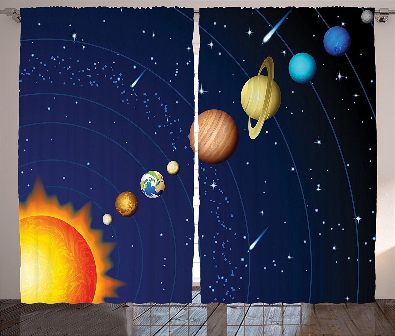 Space Curtains Decor Solar System with Sun Uranus Venus Jupiter Mars Pluto Saturn Neptune Image Living Room Bedroom Window Drapes 2 Panel Set Dark Blue Orange