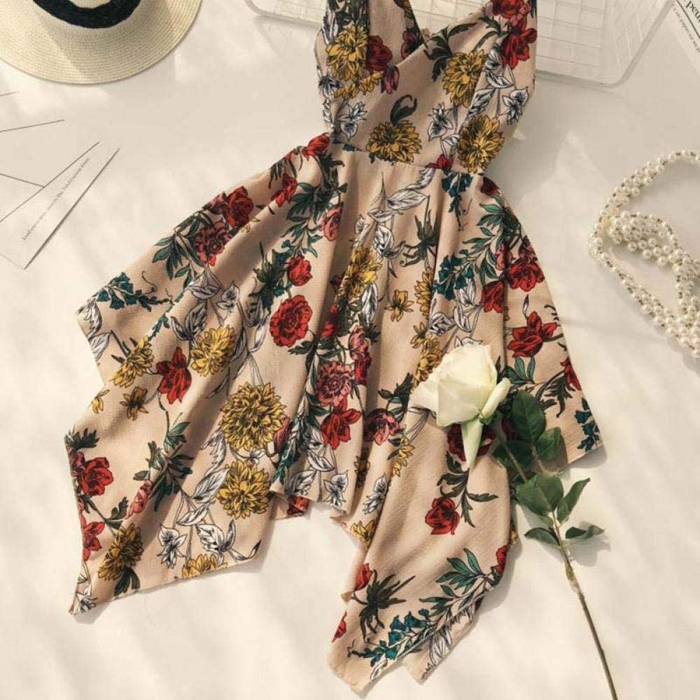Été Nouvelle Robe Imprimée Florale Mince A-Ligne Col en V Bretelles Spaghetti Robe Plissée Asymétrique Décontracté Boho/bohême Robes De Plage Blanc