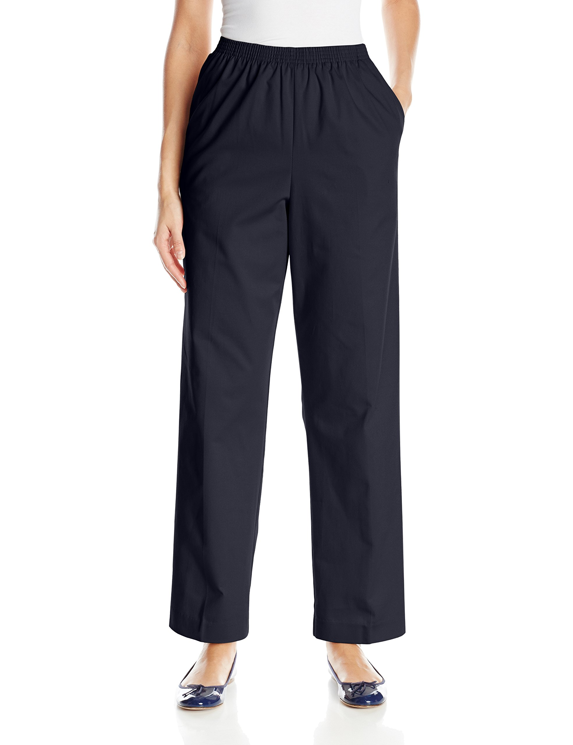 Alfred Dunner Women's Proportioned Medium Twill Pant, Navy, 10