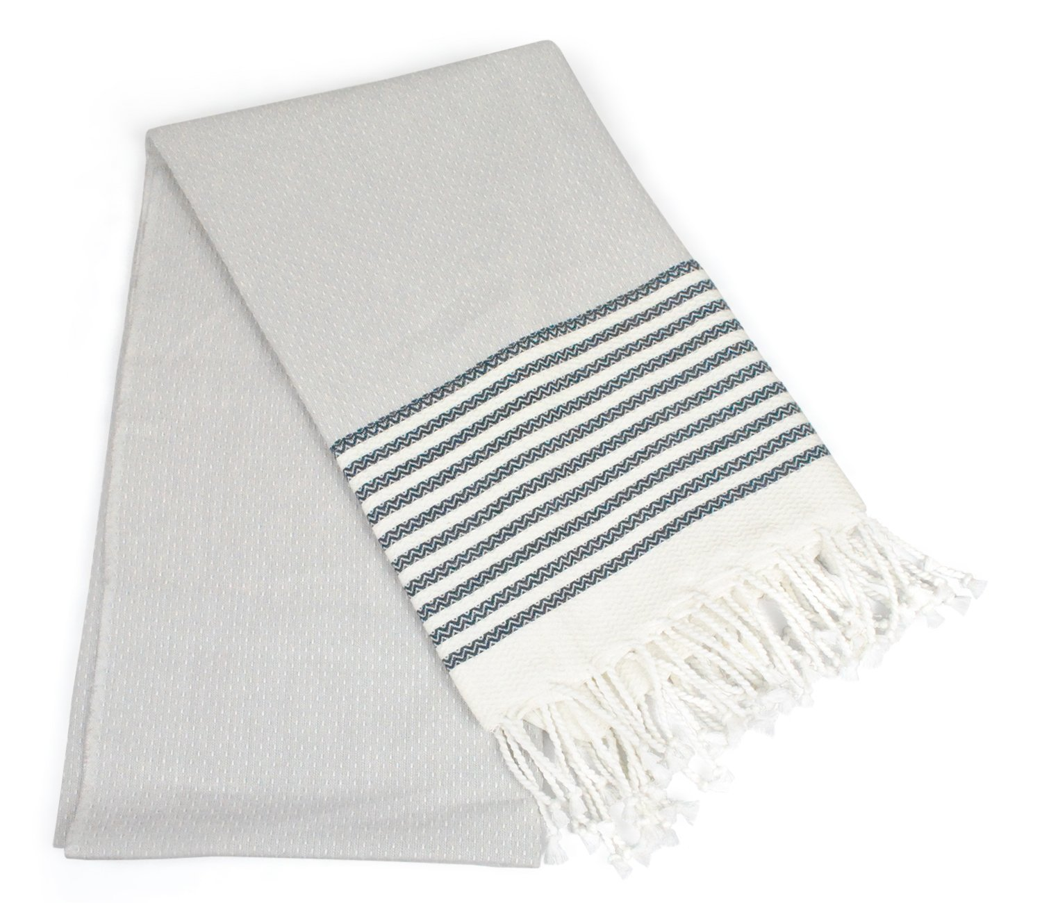 DII Peshtemal Turkish Super Soft, Absorbent, Oversized Bath Towel, Throw, & Blanket Fringe For Chair, Couch, Picnic, Camping, Beach, Yoga, Pilates, & Everyday Use , 39 x 71'' - Navy Stitched Stripe