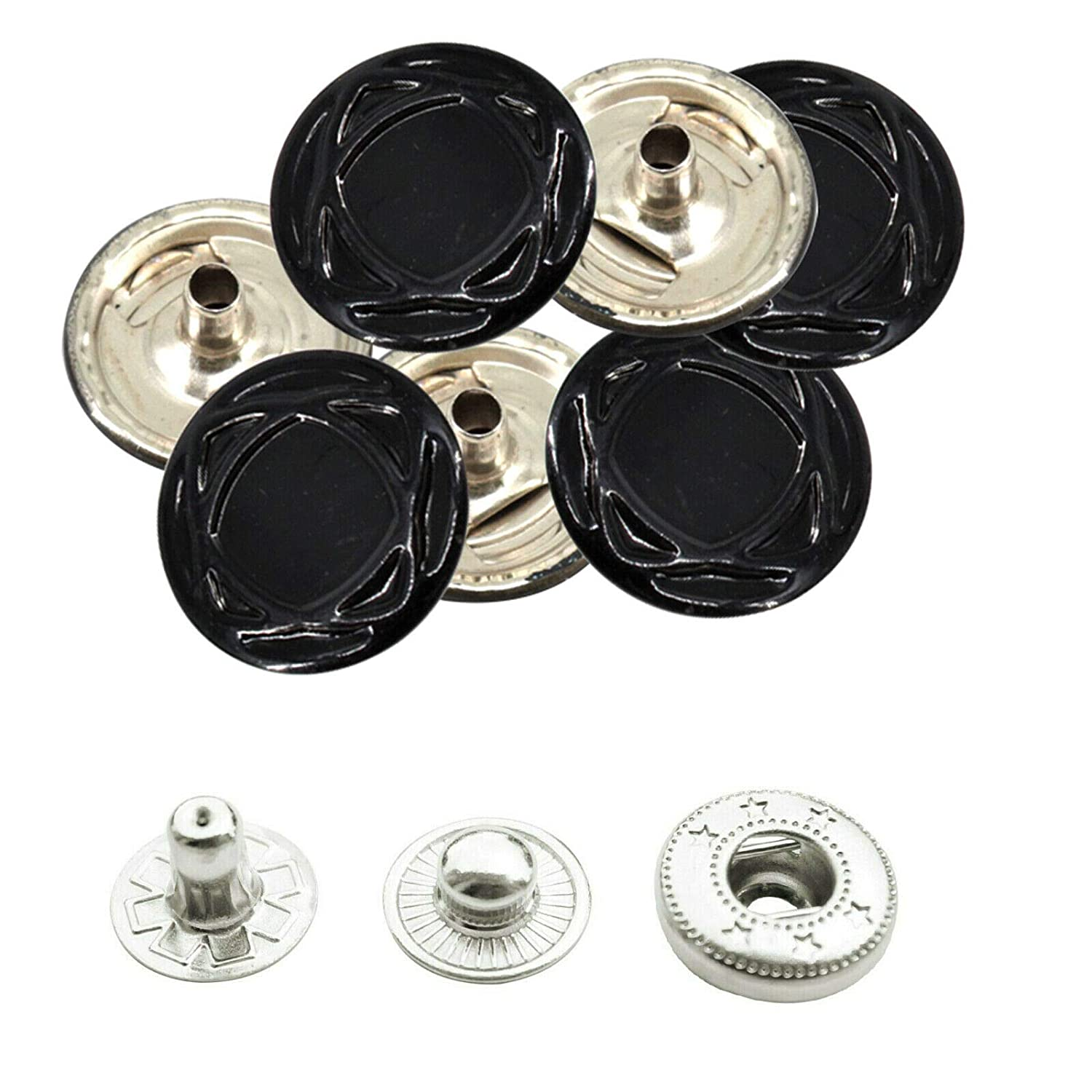 Bags 10pcs Leathercraft Trimming Shop Press Studs Silver 4 Part Snap Fasteners with Fixing Tools for Clothing 15mm DIY Craft Projects Fashion Accessories