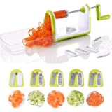 5-Blade Spiralizer Vegetable Slicer, Heavy Duty Fruit Spiral with Salad Containers and Strong Suction, Salad Utensil, Vegetable Cutter and Shredder, Vegetable Spiralizer Kitchen Saviors