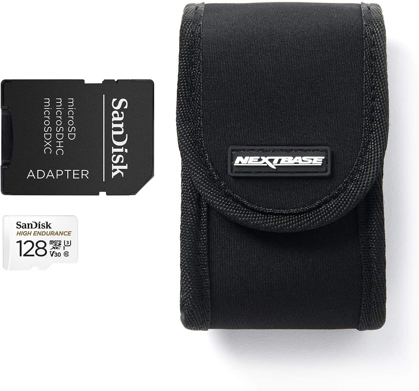 Adaptor Nextbase Series 2 Dash Cam Carry Case a Protective Neoprene Case for 122 222 322GW 422GW and 522GW In-Car Dash Cameras with Sandisk 128GB High Endurance Micro SD HC Memory Card