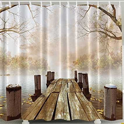 Fall Wooden Bridge Shower Curtain Nature Country Rustic Art Paintings Pictures For Bathroom Decorations Polyester Fabric