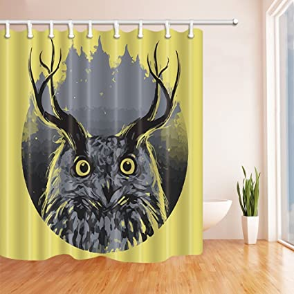 Rrfwq Creative Decor Owl With Deer Antler Mildew Resistant Polyester Fabric Shower Curtains For Bathroom