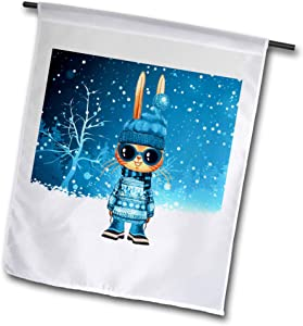 3dRose Doreen Erhardt Kids Collection - Fun Blue Winter Bunny in Sunglasses for Children - 12 x 18 inch Garden Flag (fl_298737_1)