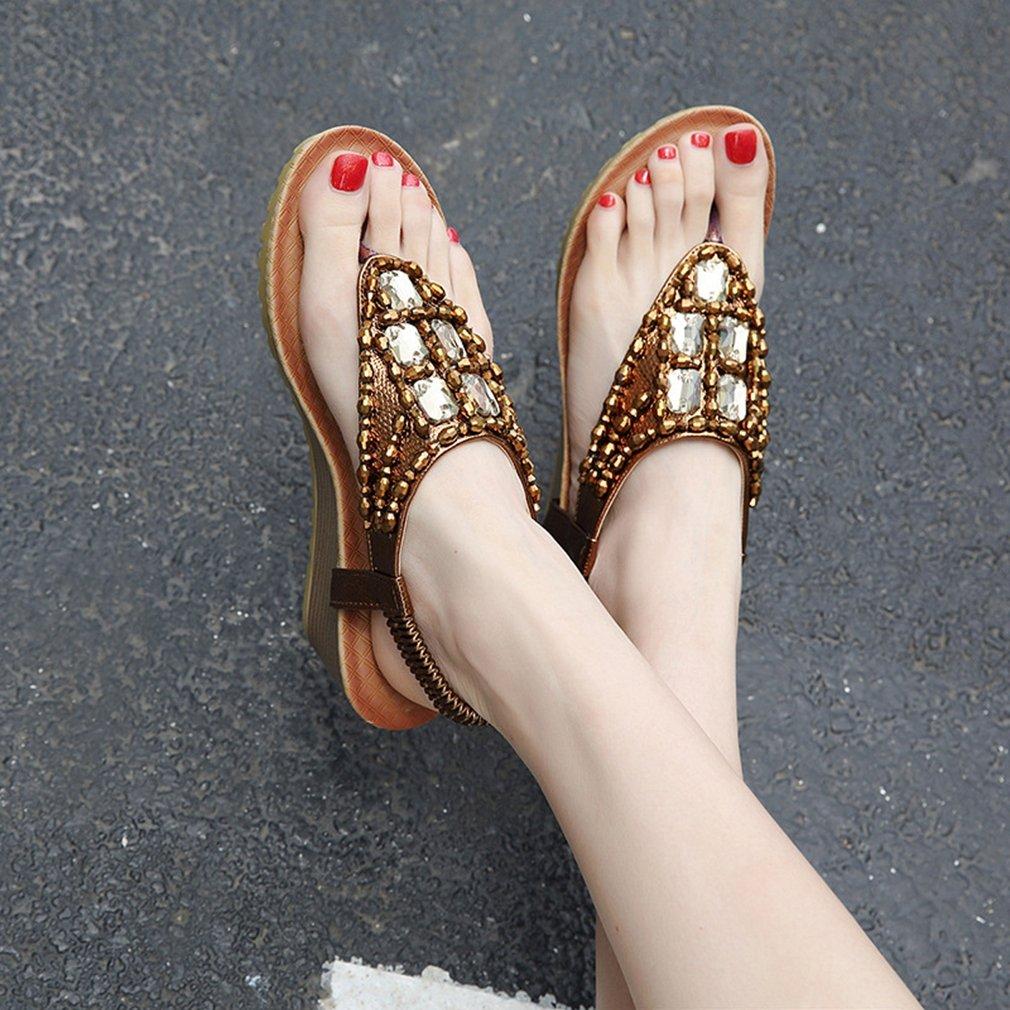 3f99ad7826955 ... AVENBER Women Boho Wedge Wedge Wedge Sandals Rhinestone Beads T-Strap  Platform Heel Anti- ...
