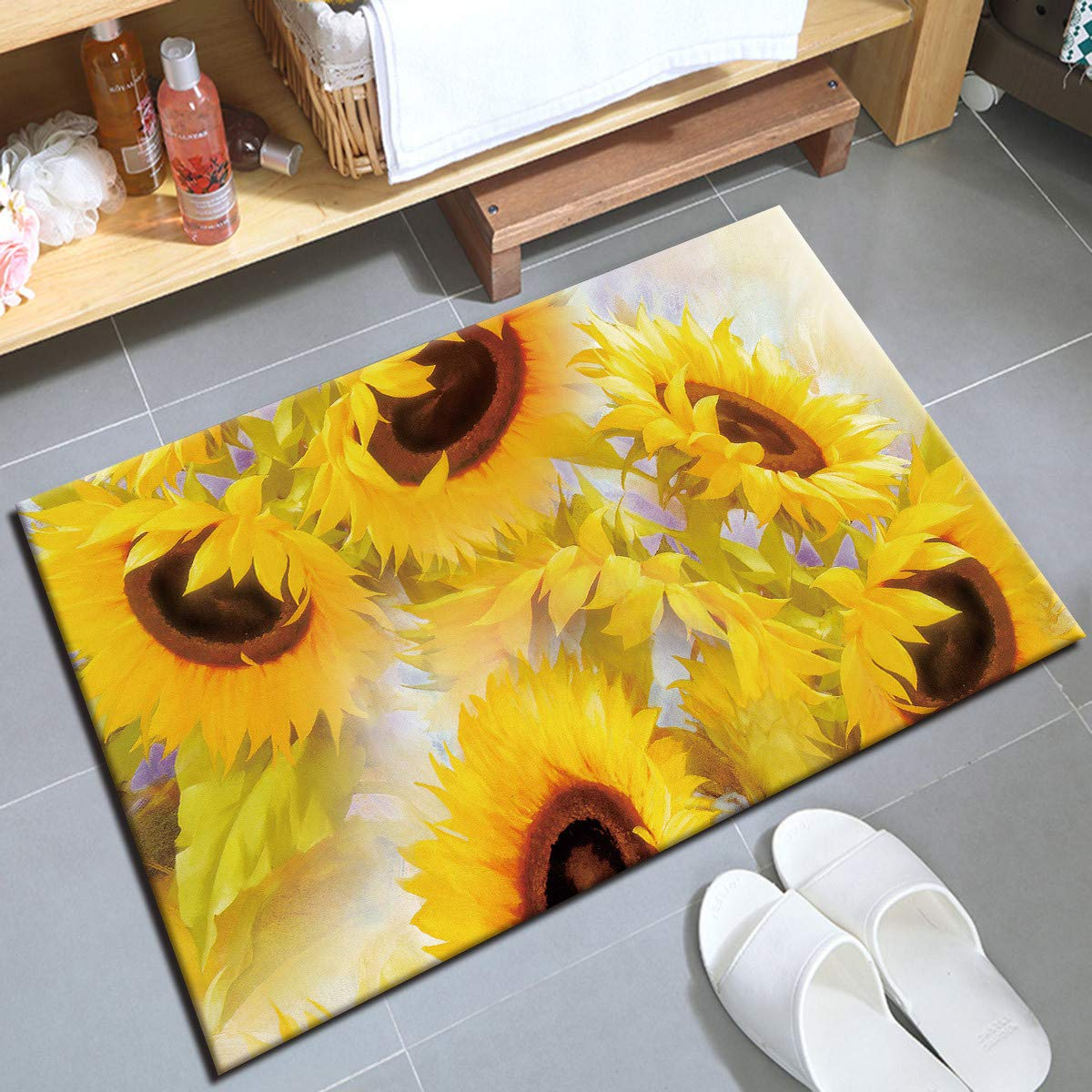 HVEST Sunflower Area Rugs Blooming Yellow Flowers Carpet Non-Slip Doormat for Living Room Bedroom Kitchen Floor Mat,(1'4''x2')