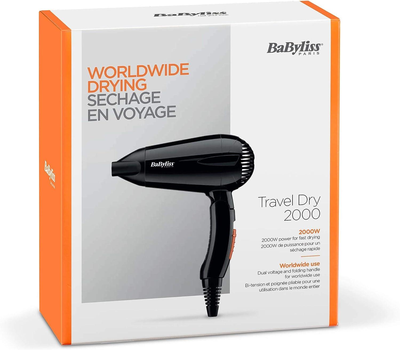 BaByliss Sèche cheveux Travel Dry 2000 Compact Léger avec poignée pliante