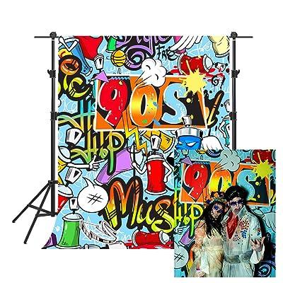PHMOJEN 5x7ft Fresh Graffiti Wall Polyester Backdrop Prince Hip Hop Theme Background Photo Studio Props PTBLSPH1