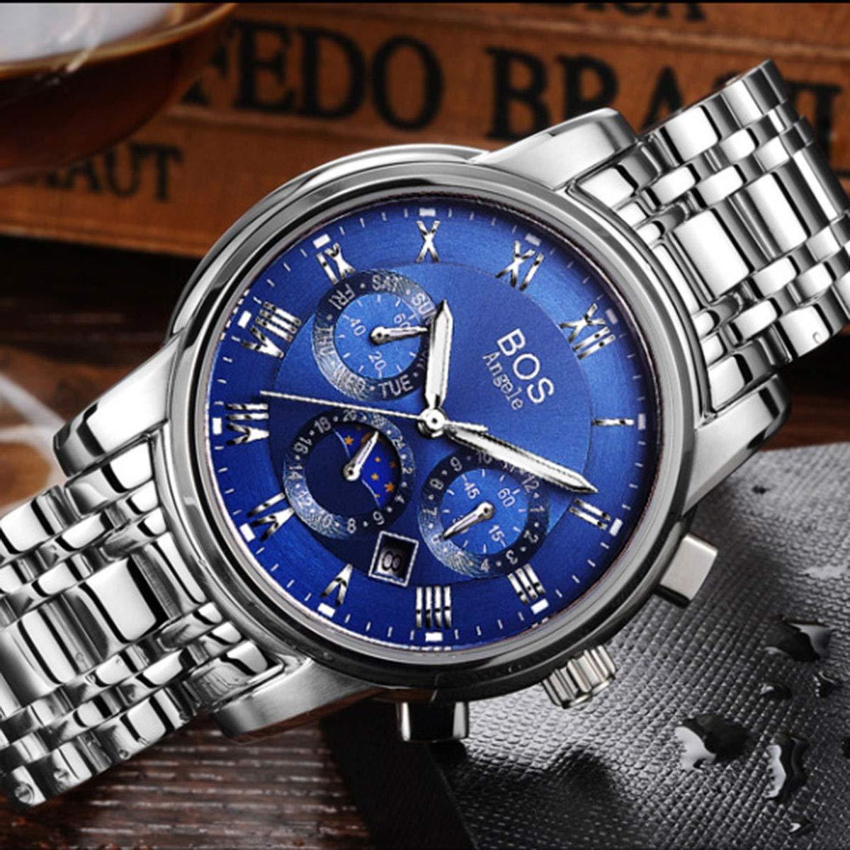 Angela Bos män klocka topp märke klocka vattentät mode automatisk mekanisk klocka för män klocka BLÅ