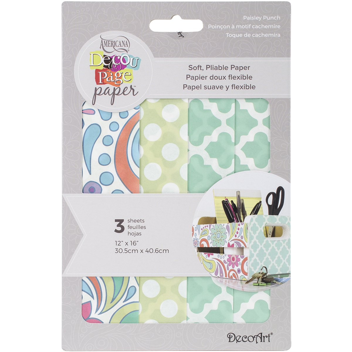 Deco Art Decoupage Paper 12-inch x 16-inch -Paisley Punch DPK-08