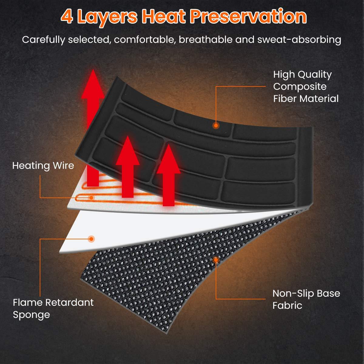Coj/ín Calefactable Coche con Regulador de Temperatura Inteligente 40-65℃ 12V Negro Audew Funda Calefactor de Asiento para Coche