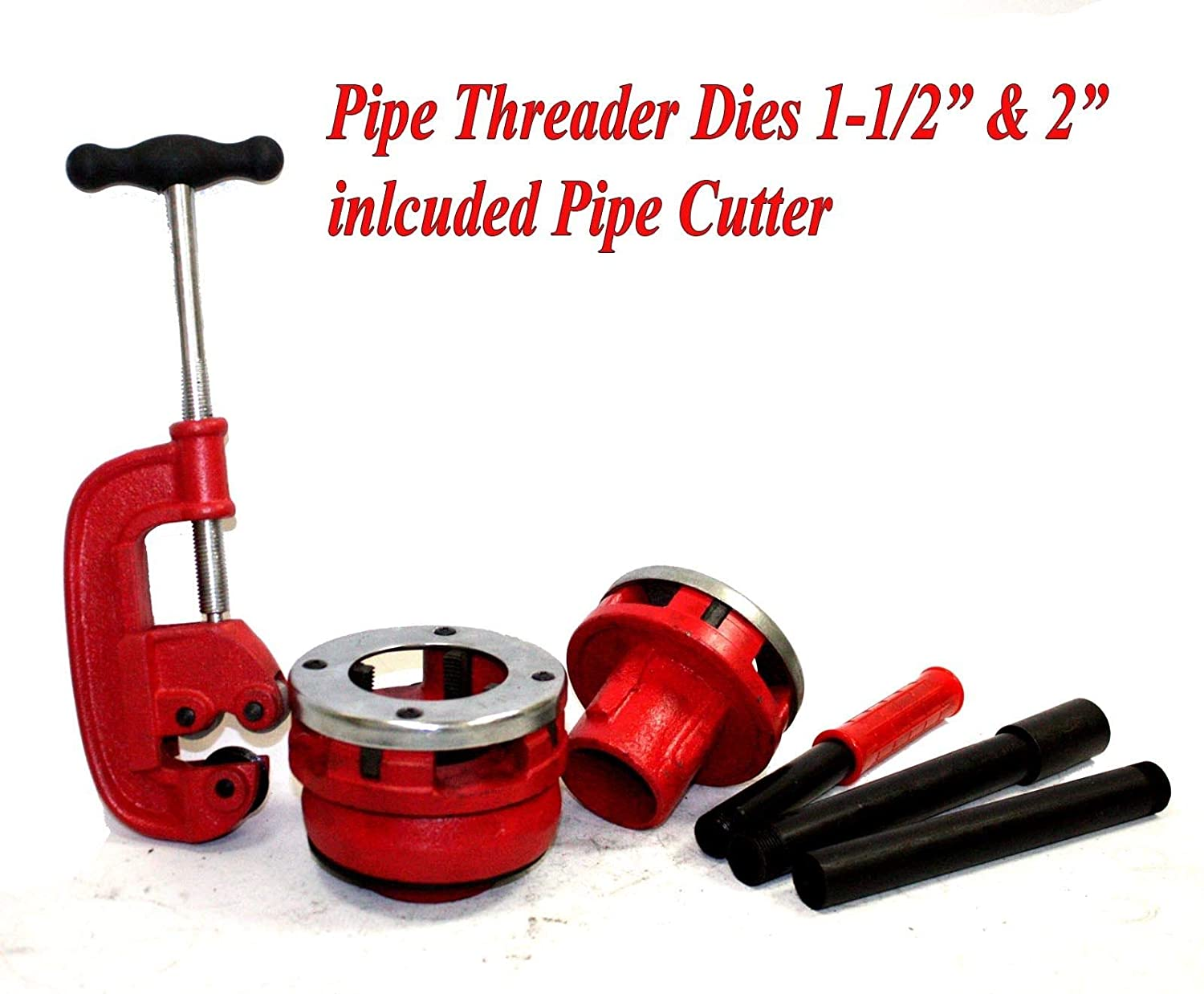 1-1//2 Pipe Threader Ratcheting Type 3pc 1-1//4 2 Steel Cutting Bits