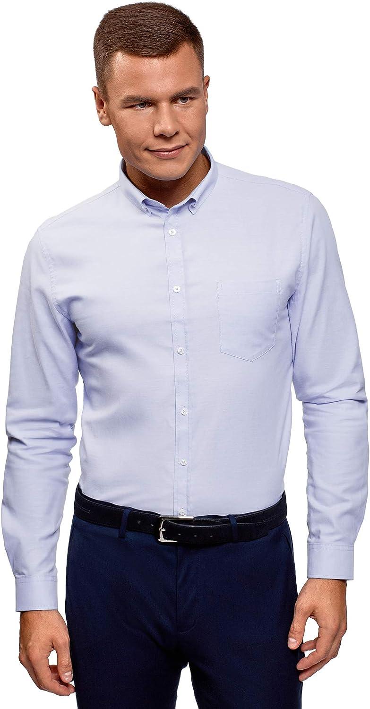 oodji Ultra Hombre Camisa Básica Entallada de Algodón
