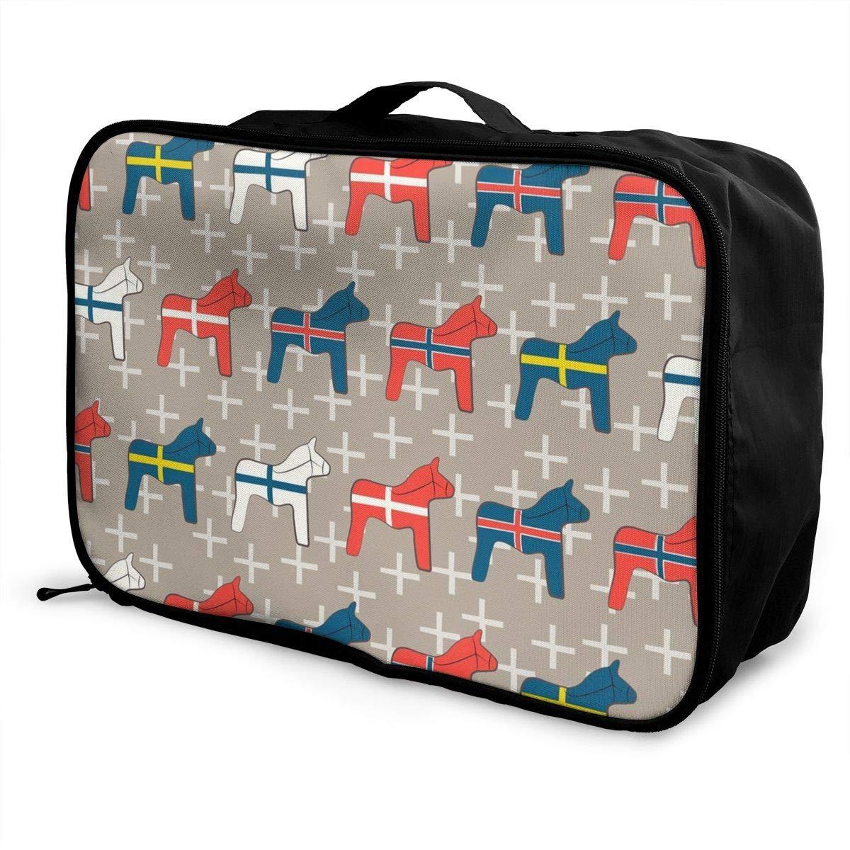 Women /& Men Foldable Travel Duffel Bag Wooden Dala Horses For Luggage Gym Sports