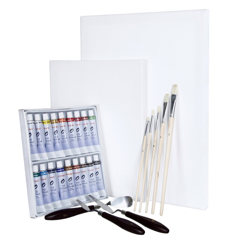 5 Pinsel und 3 Malmesser Artina 29-TLG 2 Leinw/änden Tischstaffelei Manchester Kiefer Malset mit 18 Crylic Acrylfarben