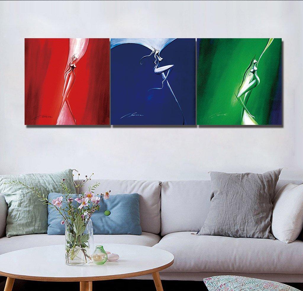 LB Kalte Farben Farbmalerei Moderne Ölgemälde Bild Druck auf Leinwand Wandkunst für Wohnzimmer ...