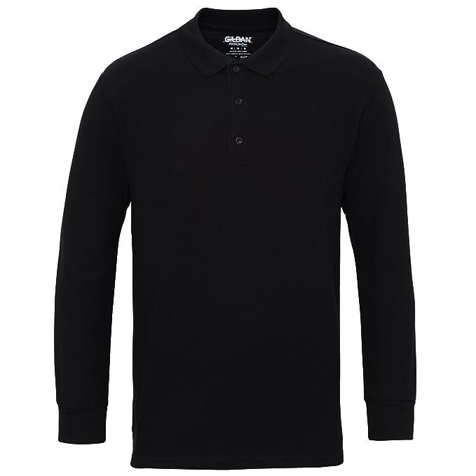 Gildan Mens Long Sleeve Double Pique Cotton Polo Shirt at Amazon ... 702bb5a096bb