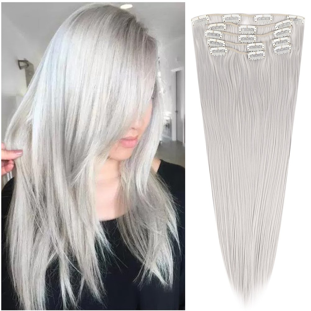 Cheap 7 Pieces Clip in Synthetic Hair Extension Body Wave 7Pcs 16 Clips Hairpiece Double Weft Thick Full Head Set Invisible for Women Fashion(4.6oz per Piece,18/18 inch 130g,#1001A Silver Gray 18/18 inch 130g BE-YOHAIR