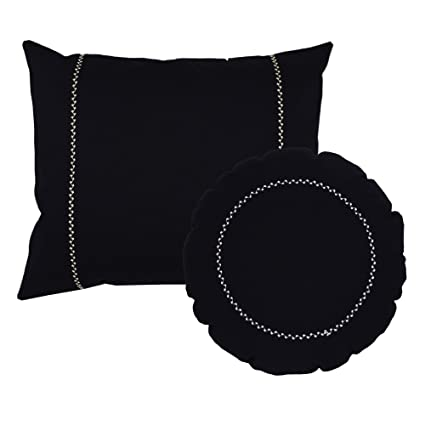 Excellent 2Pc Rectangle Pillow And Round Throw Pillow Set Black Cotton Accent Cushions With White Embroidered Stitching Gamerscity Chair Design For Home Gamerscityorg