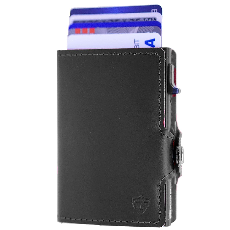 Card Blocr Credit Card Wallet | Best Minimalist Wallet | RFID Blocking (Black Leather & Black)