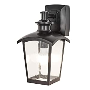 Home Luminaire 31703 Spencer 1-Light Outdoor Wall Lantern with Seeded Glass and Built-in GFCI Outlets Black