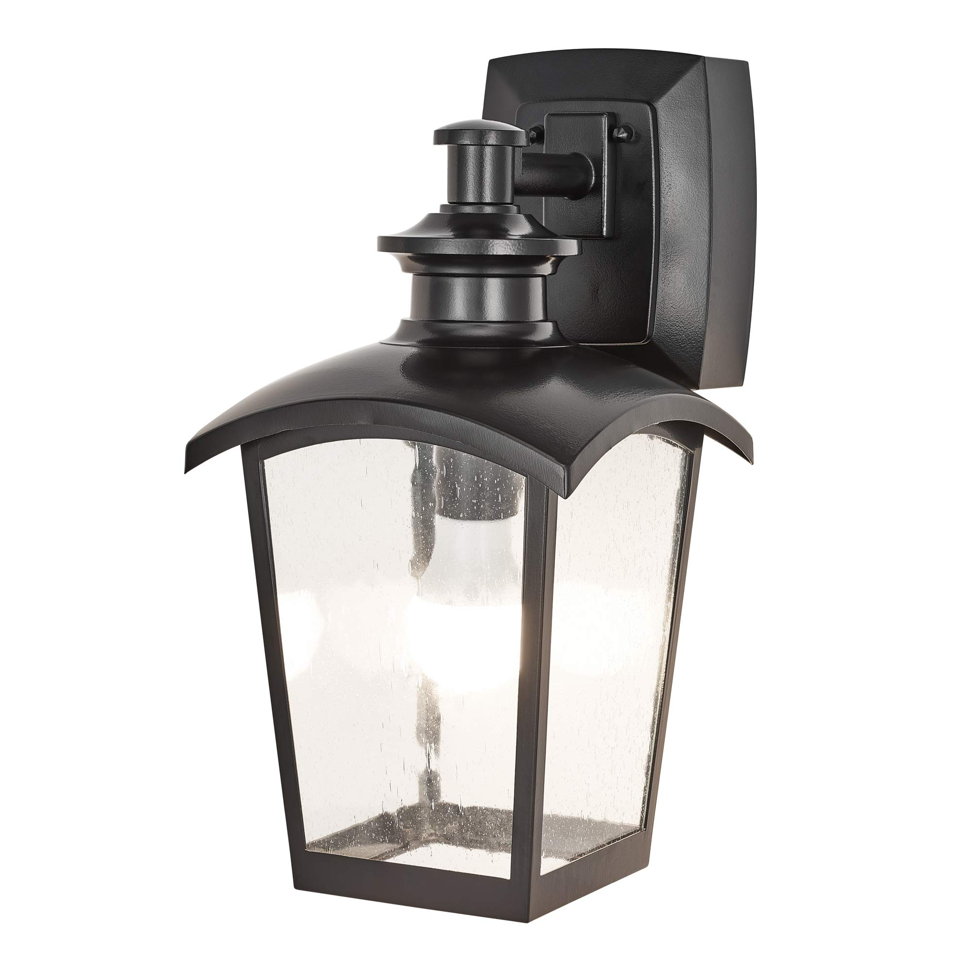 Home luminaire 31703 spence 1 light outdoor wall lantern with seeded glass and built in gfci outlets black