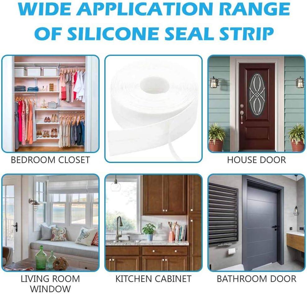 Butecare Door Strip Bottom,8M//26ft House and Glass Shower Door Silicone Seal for Side of Door Transparent