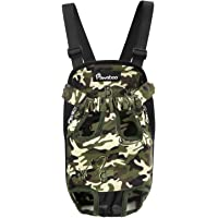 Pawaboo Pet Carrier Backpack, Adjustable Pet Front Cat Dog Carrier Backpack Travel Bag, Legs Out, Easy-Fit for Traveling Hiking Camping, Suitable for 5.5 lb - 8.8 lb Pet, Deep Camouflage Black