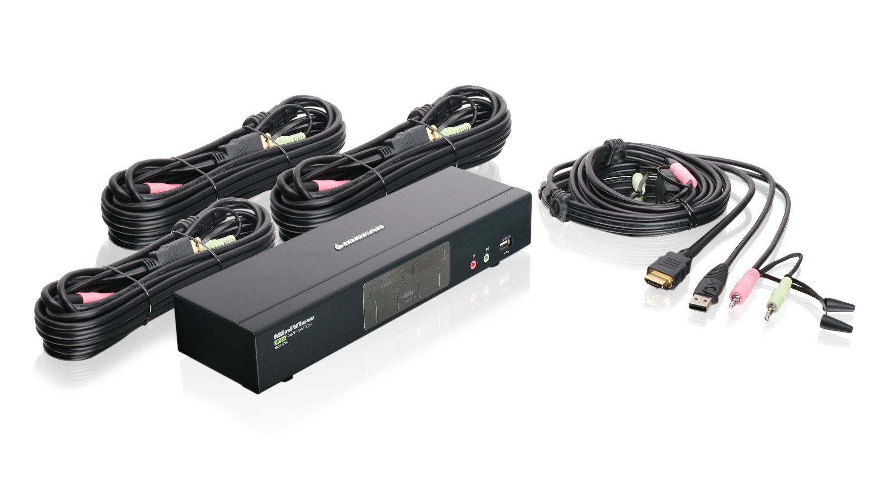 IOGEAR 4-Port HDMI Multimedia KVM Switch with Audio, USB 2.0 Hub and HDMI KVM w/Full Set of Cables, (GCS1794 TAA Compliant) by IOGEAR