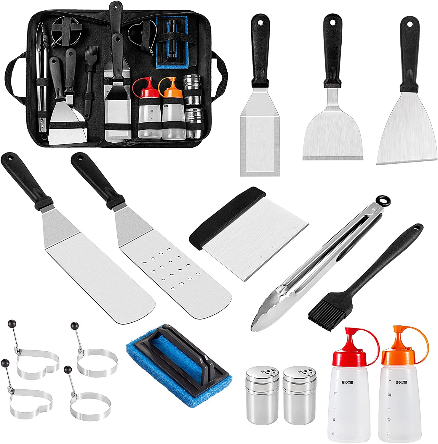 OneLeaf Griddle Accessories Kit for Blackstone and Camp Chef, 18Pcs Flat Top Grill Accessories Set with Griddle Cleaning Kit & Carry Bag, Griddle Tools with Spatula/Scraper/Egg Ring for BBQ, Camping