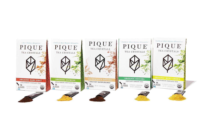 Pique Organic Variety Tea Crystals Sampler, Gut Health, Fasting, Calm, 70 Single Serve Sticks (Pack of 5) by PIQUE
