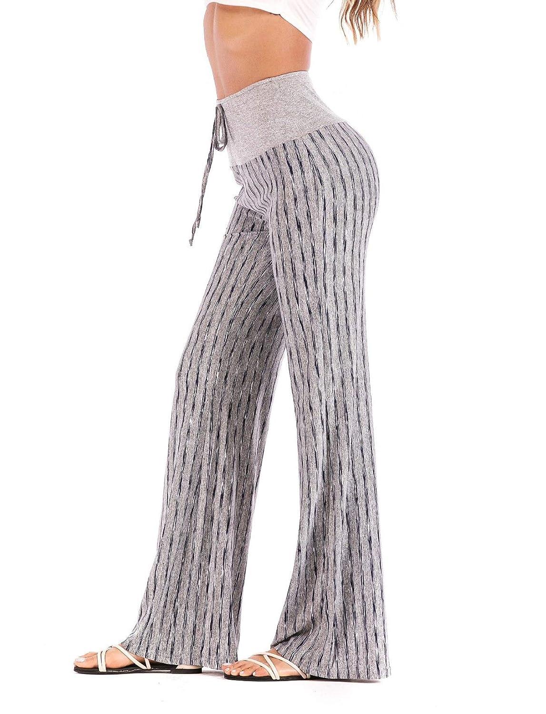 2  RIOJOY Women's High Waist Stripes Blocking Yoga Pants Loose Wide Leg Palazzo Pajama Pants Lounge Workout Trousers with Drawstring