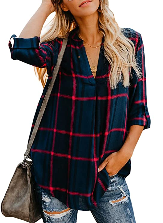 Chase Secret Women Long Sleeve V-Neck Plaid Shirts Pullover Top Loose Fitting Henley Shirts Tops M Multicoloured
