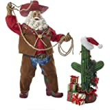 "Kurt Adler 12"" Fabriche' Cowboy Santa with Cactus and Gifts - 2 Piece Set"