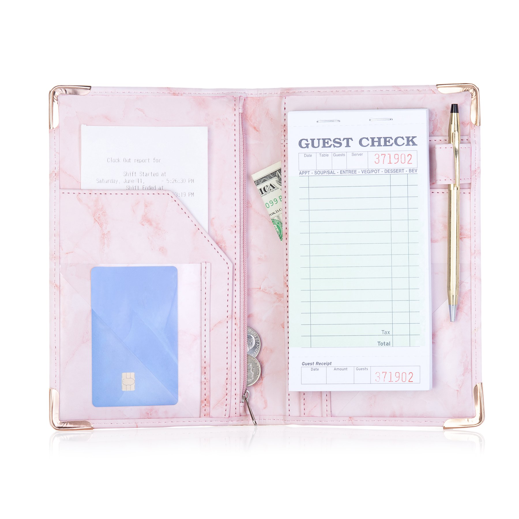 Sonic Server Marble Style Deluxe Server Book for Restaurant Waiter Waitress Waitstaff | Millennial Pink | 9 Pockets includes Zipper Pouch with Pen Holder | Holds Guest Checks, Money, Order Pad