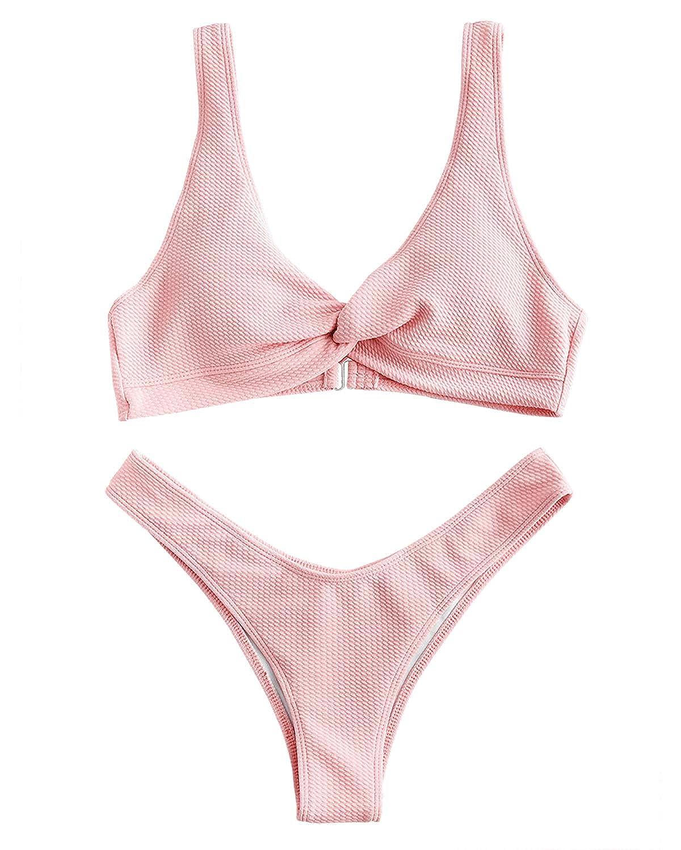 ZAFUL Bikini-Set mit gerippte tiefer Hals texturiert gepolstert Swimsuit Badeanzug Bikinis