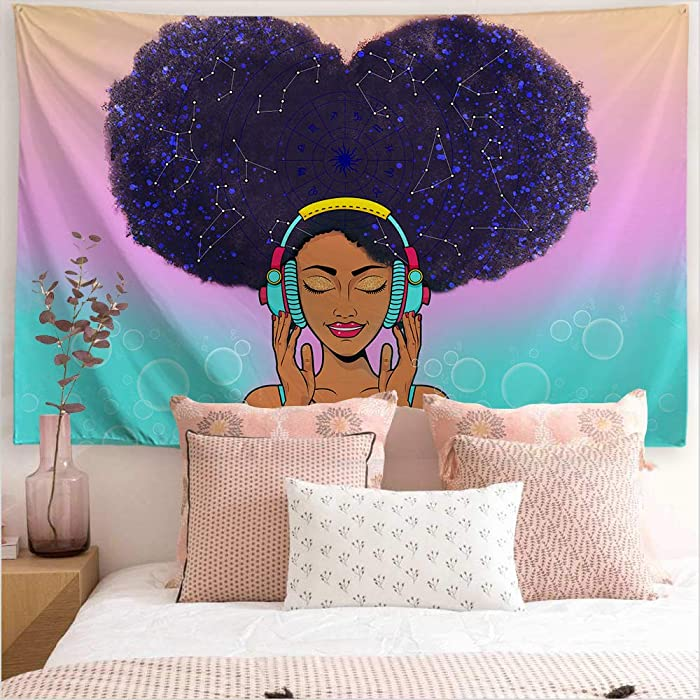 "ORTIGIA African American Black Girl Tapestry Wall Hanging Home Decor,Constellation Theme for Bedroom,Kids Room,Living Room,Dorm,Office Polyester Fabric Needles Included- 60"" W x 51"" L (150cmx130cm)"