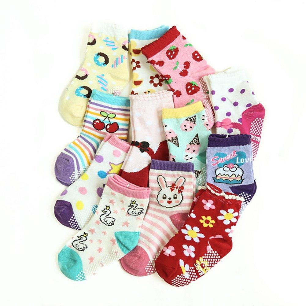 Aipark 12 Paires de Chaussettes Antid/érapants en Coton avec des Petits Picots en bas pour les B/éb/és de 12 /à 36 mois Tiennent bien en Machine de Lavage Soquettes B/éb/é avec Motif Sympa