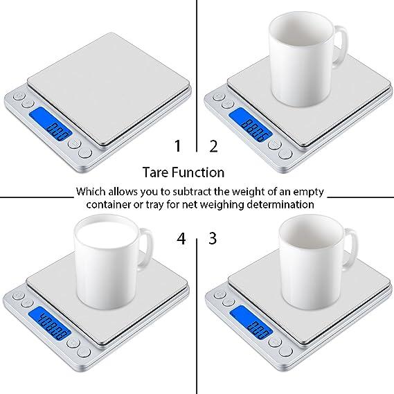 Precison Digital Cocina Escala Olrick 500 G x 0,01 G Smart Weigh - Báscula de cocina con pantalla LCD retroiluminación azul y trae función para pesar ...