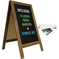 Large Sturdy Handcrafted 40″ x 20″ Wooden A-Frame Chalkboard Display / 4 Liquid Chalk Markers & Stencil Set/Sidewalk Chalkboard Sign Sandwich Board/Chalk Board Standing Sign (Rustic)