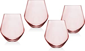 Godinger Stemless Goblet Wine Glasses Beverage Glass Cup - Meridian Blush, 18oz - Set of 4