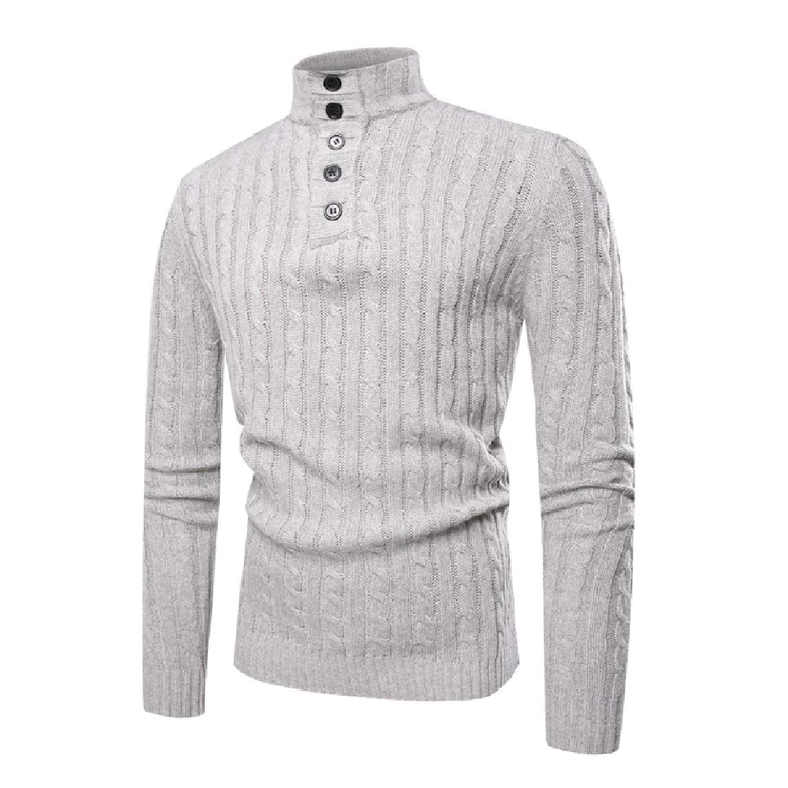 LinkShow Mens Fashion Chic Soft Knitted High Neck Long-Sleeve Jacquard Pullover Sweater