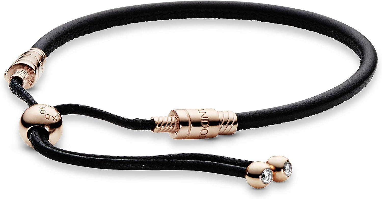 Pandora Jewelry Pandora Moments Black Leather Slider Cubic Zirconia  Bracelet in Pandora Rose, 11.0