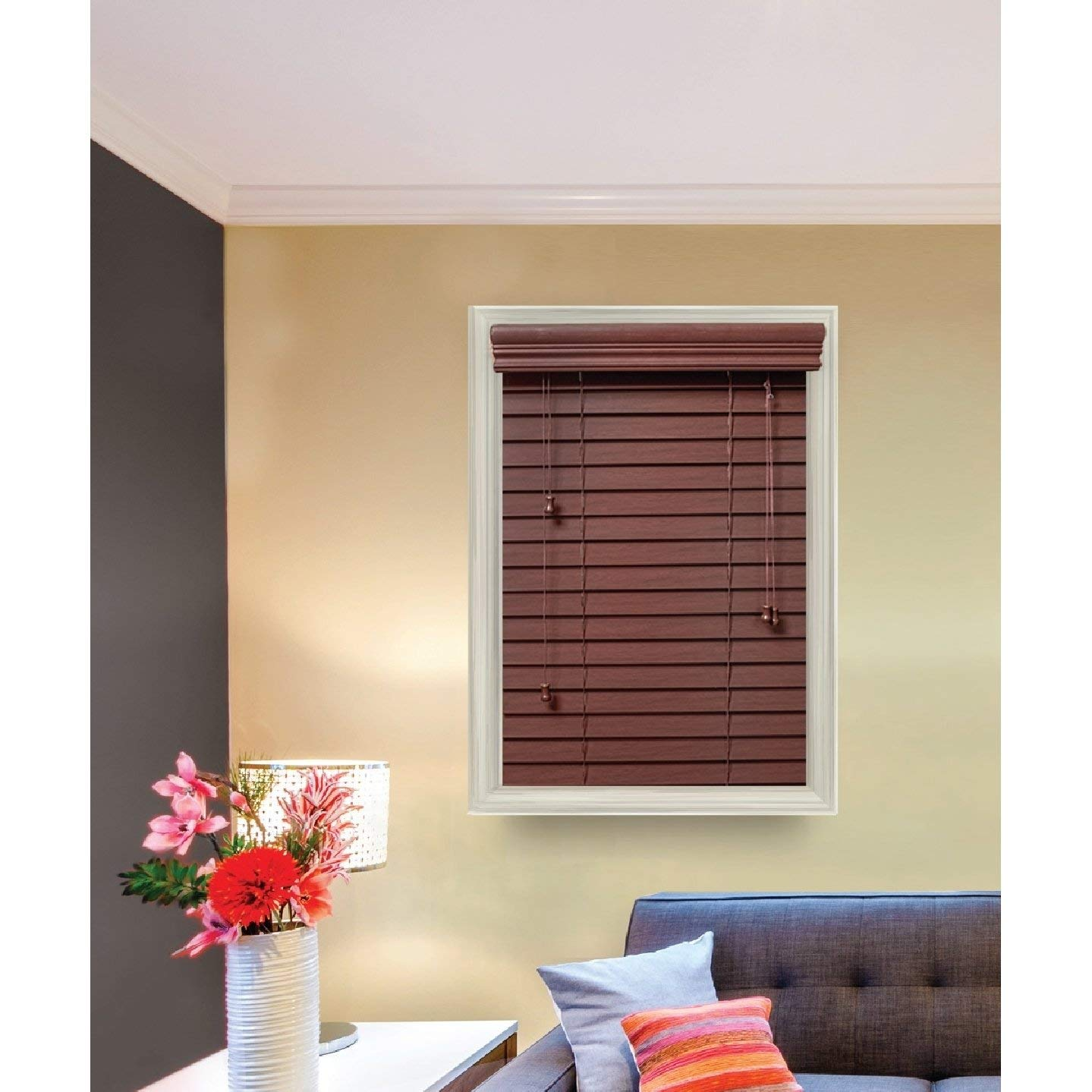 Treatments 34 1//2 x 60 Golden Oak SANFIT FP34560GO Lotus /& Windoware 106 Inch Faux Wood Blinds Window coverings