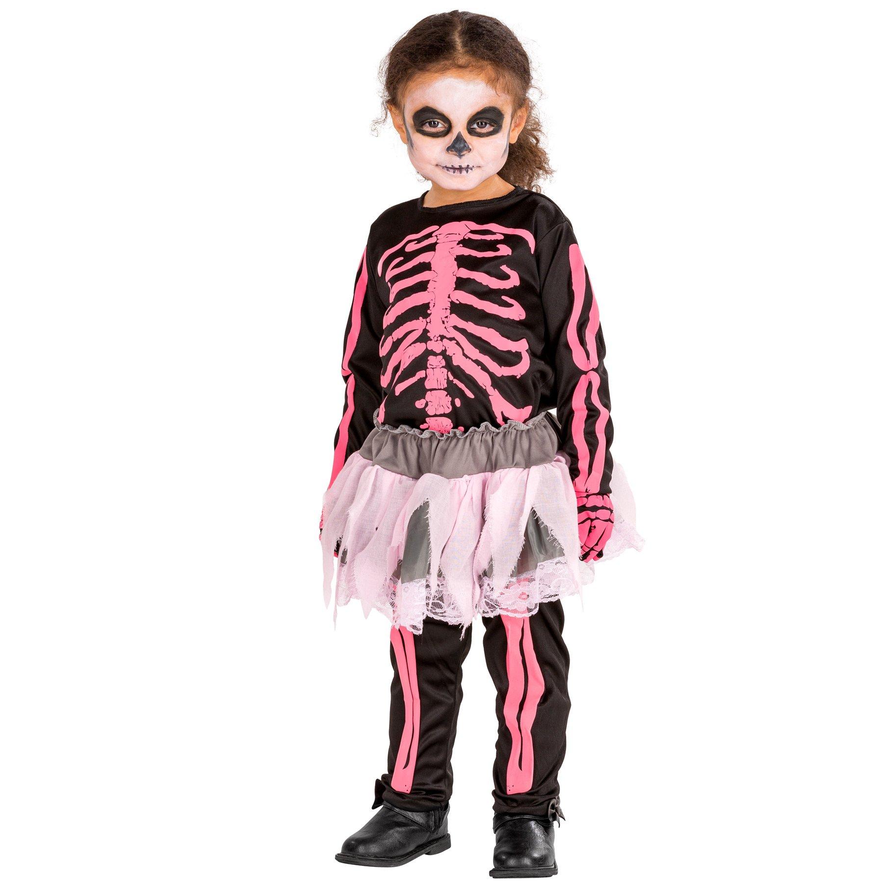 PINK SKELETON GIRL CHILD HALLOWEEN COSTUME GIRLS SIZE SMALL 4-6