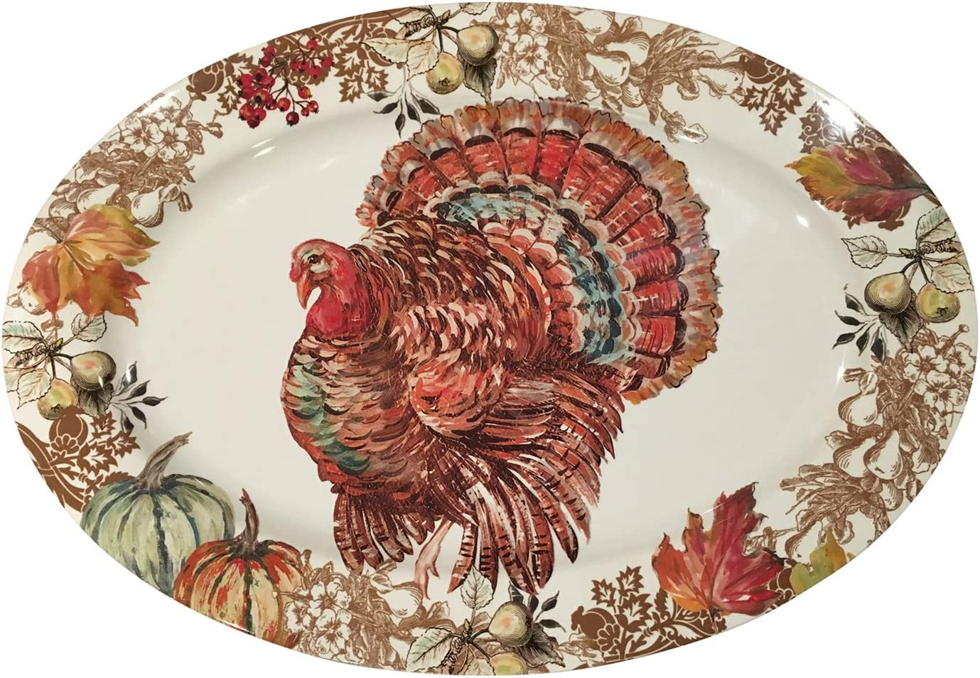 Amazon Com Fall Harvest Thanksgiving Turkey Heavyweight Melamine Oval Serving Platter 20 Inch X 14 Inch Platters