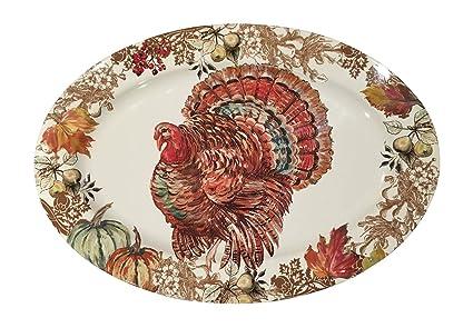 Fall Harvest Thanksgiving Turkey Heavyweight Melamine Oval Serving Platter 20 Inch X 14