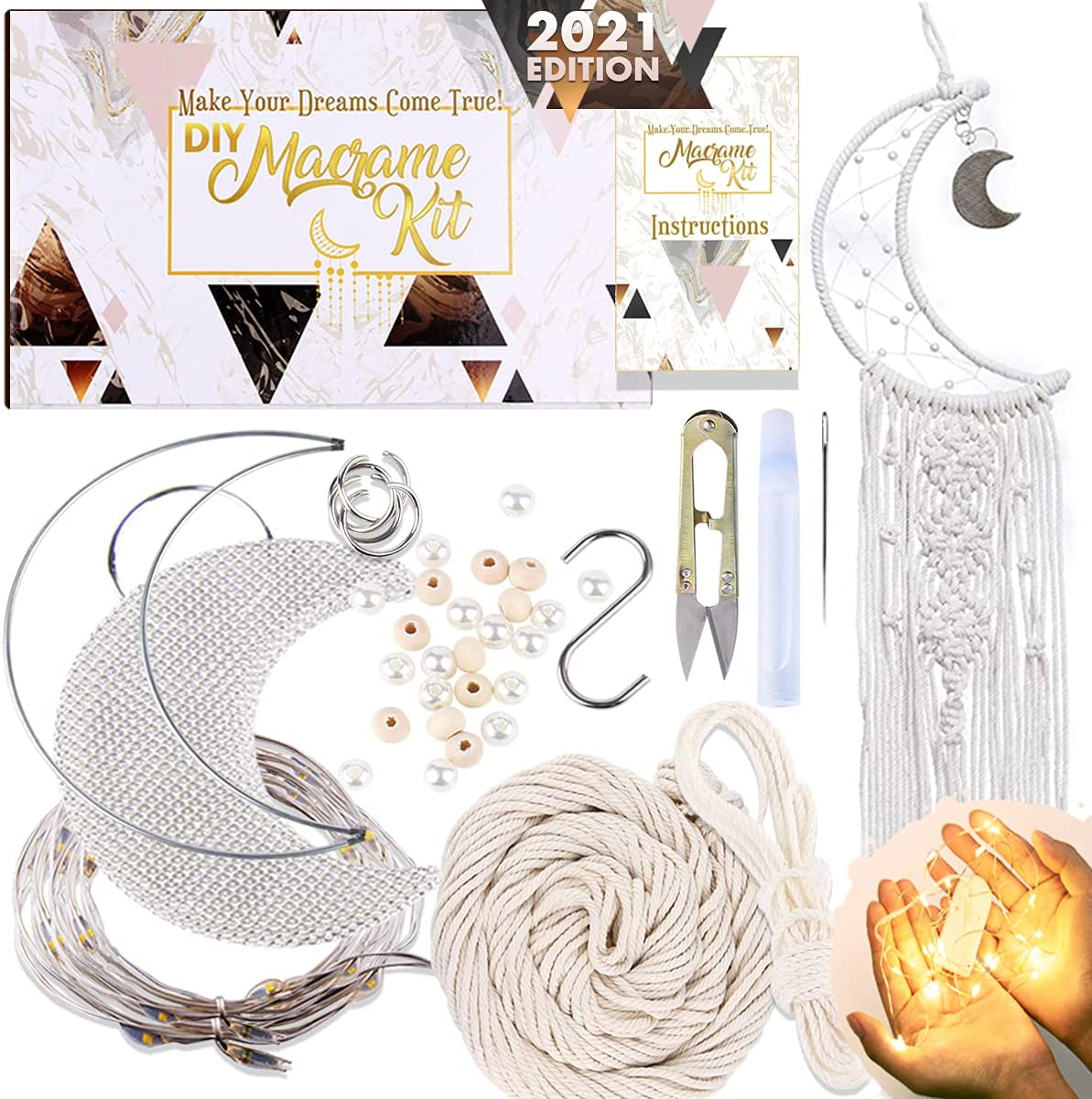 Innofans Moon Dream Catchers Room Decor - Moon Decor Hippie Room Decor Nursery Home Bedroom Art Witchy Ornament Celestial Decors Aesthetic LED Lights Hook Beads Gifts Crafts For adults Women Teen girl